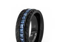 MEN'S TITANIUM BEVELED BRUSHED FINISH BLACK INLAY WEDDING BAND