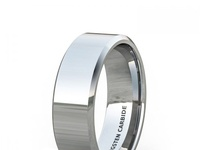 SOLID CHROME POLISHED BEVELED EDGE TUNGSTEN RING 8MM