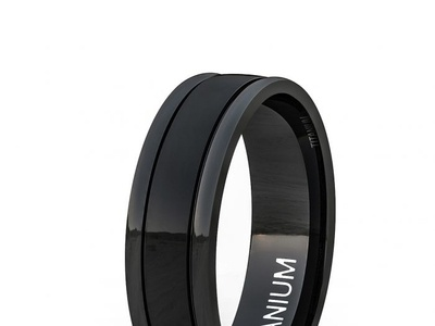 8MM TITANIUM RING BLACK POLISHED DOME DOUBLE GROOVE