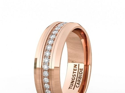 ROSE GOLD 8MM TUNGSTEN RING POLISHED FULLY STACKED