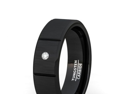 8MM BLACK TUNGSTEN RING SECTIONED CUBIC ZIRCON BEVELED EDGE