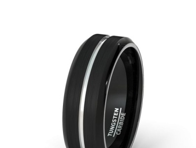 8MM BLACKTUNGSTEN RING BRUSHED WITH WHITE CENTER GROOVE