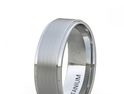 TITANIUM RING CLASSIC MENS WEDDING BAND BRUSHED SURFACE