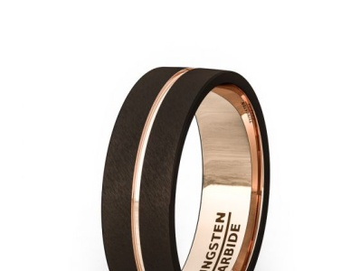 BROWN TUNGSTEN RING INSIDE ROSE GOLD GROOVE FLAT EDGE