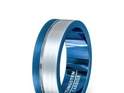 TUNGSTEN BLUE SIDE GROOVE MENS RING BRUSHED FLAT EDGES tungsten rings stainless steel bracelet