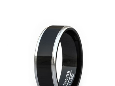WEDDING BAND 8MM HIGH POLISHED RAISED SURFACE STEP EDGE TWO TONE stainless steel bracelet mens carbon fiber tungsten ring