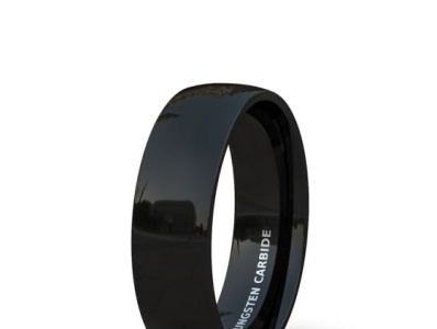 8MM BLACK TUNGSTEN RING SOLID POLISHED DOME