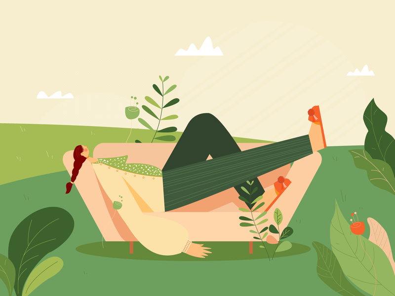 Girl on couch in nature cartoon illustration plants outside nature couch woman girl cartoon illustrator flat illustration flatdesign flat art vector minimal illustration design animation