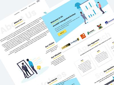 Landing page for StreSERT Integrated Limited flat vector animation gif interaction design website logo typography icon dahnteyy interaction illustration branding ui web design pixeldahn web design ux ui