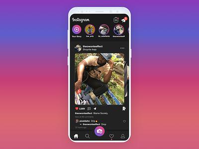 Instagram Redesign - Homepage flat app typography animation interaction dahnteyy icon ux logo ui illustration design