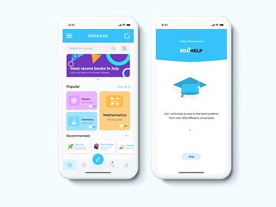 Eduhelp Book App intro screen website web user user research design interface school dashboard chat app education ux ui