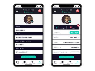 Naija-Wins Profile Screen ios game lottery edit uiux app profile page profile pixeldahn interaction design interaction web ux website animation design ui
