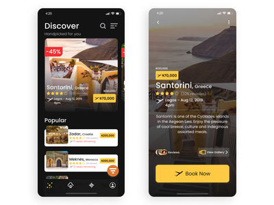 Travel App UI - Home page and Preview mobile dark ui flight booking flight travel travel app illustration app interaction design interaction web animation website ux design ui