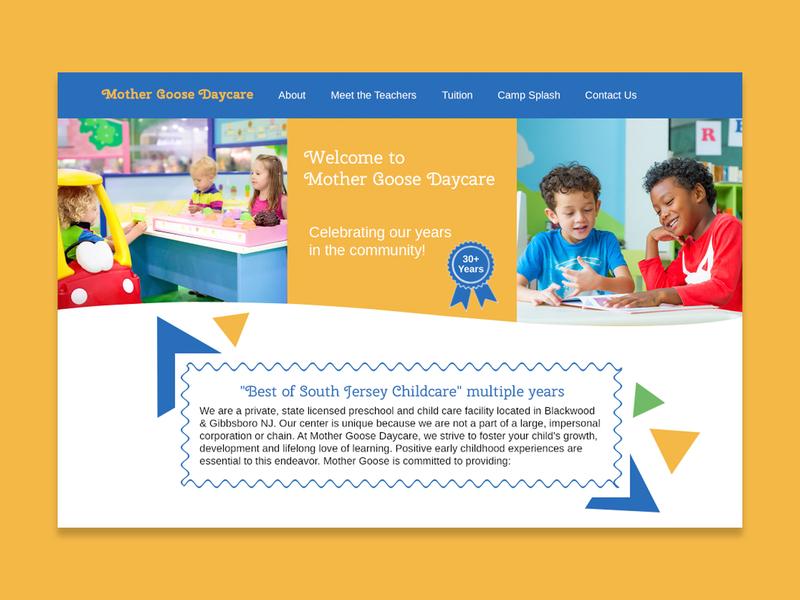 Mother Goose - Daycare Concept typography ui design webdesign
