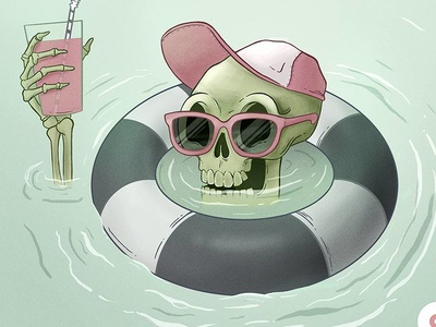 End Of Summer swimming water drink skeleton summer illustration