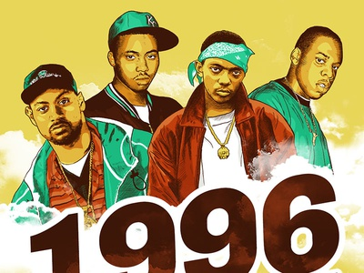 1996 A year of rap singles - east coast edition music green yellow prodigy jay-z ghostface nas rap illustration