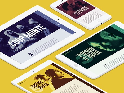 "Website ""Le coup monté de la Rumeur"" iphone ipad desktop responsive illustration portrait webdesign"