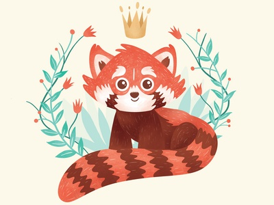 Red Panda animal announcement birth texture orange panda red illustration
