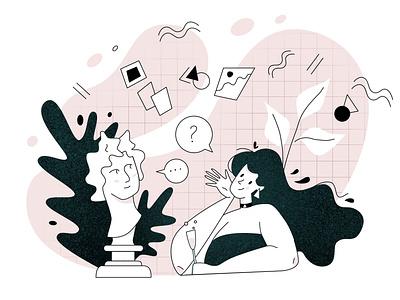 Art talks mordern creative sculpture classic woman talks ui illustration design character web flat vector
