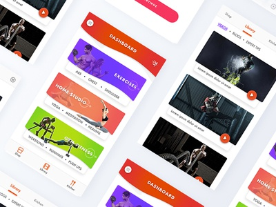 Fitness App mobile app ui colourful gym health fitness android ios ux ui app