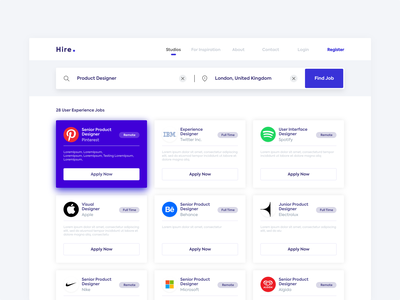 Hire - Job Search Engine web app dashboard ui hire searching purple app design whitespace product design job engine job portal job search illustration clean dashboard app