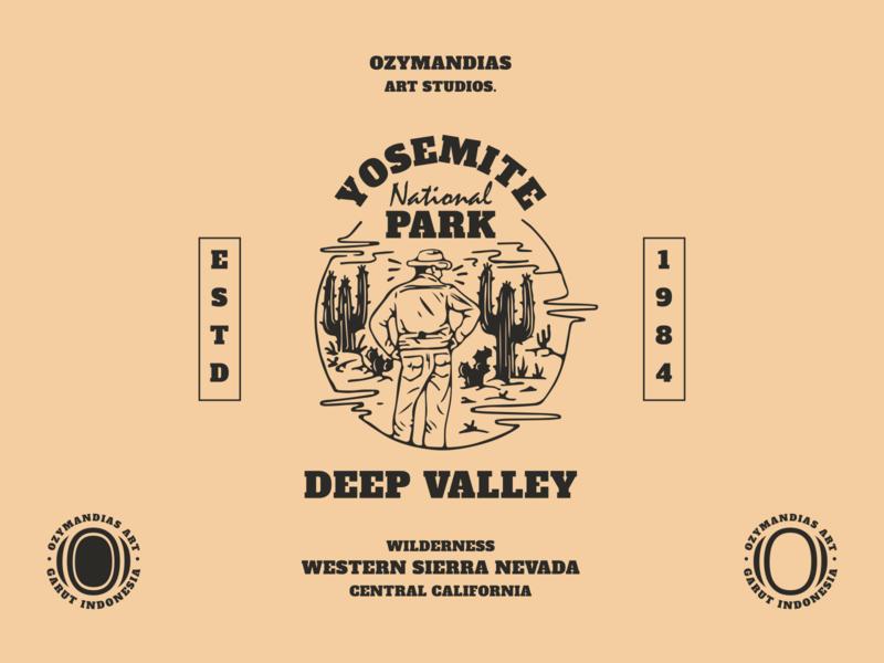 Yosemite National Park vector concept cartoon character illustration logo disaster baptism design branding
