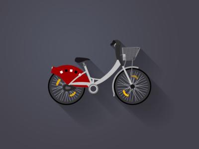 Bike app bike velo illustration flat long shadow