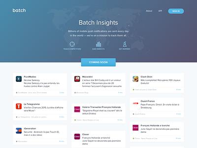 Batch Insights mobile push notification smartphone insights market track apps landing blue