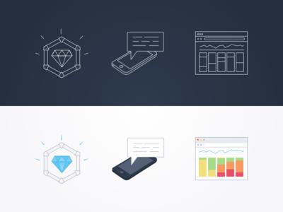 Batch Icons saas mobile dark icons reward push analytics white illustrations