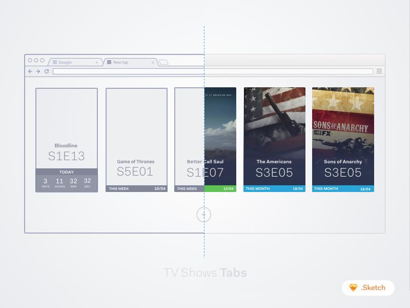 TV Series Tab [Freebies] sketchapp browser wireframe chrome tv shows tab app freebie sketch