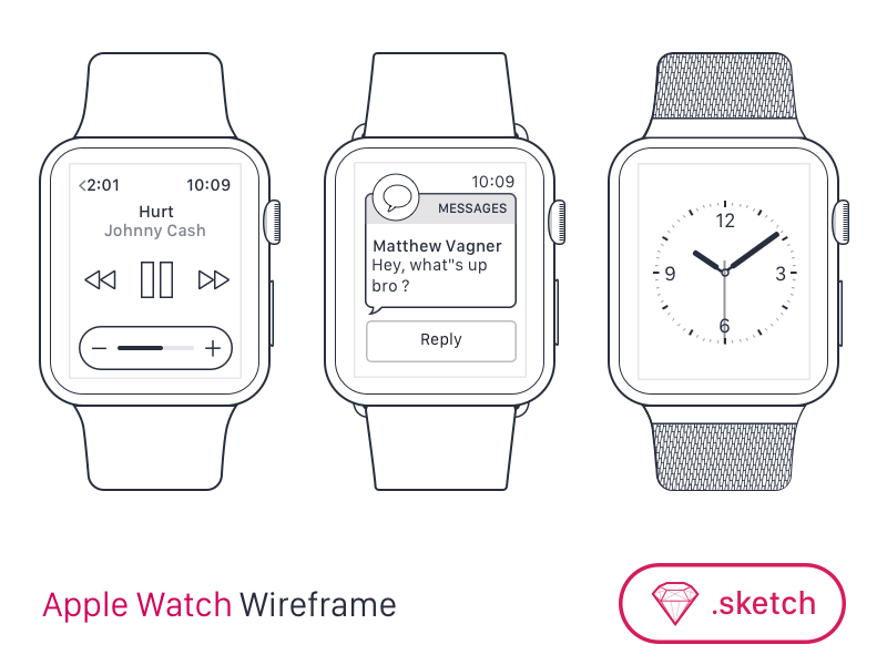 Apple Watch Wireframe for SketchApp [FREEBIE] free watchos ddl app sketch wireframe apple watch freebie