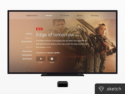 TV Screen + Apple TV [FREEBIE] play movie dark app sketch google appletv chromecast screen freebie mockup tv