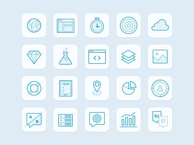 Batch Icons analytics illustrations abtesting push saas mobile flat branding blue icons