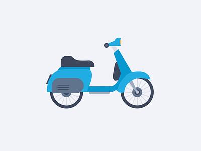Moto Illustration bike vector blue flat vespa moto illustration
