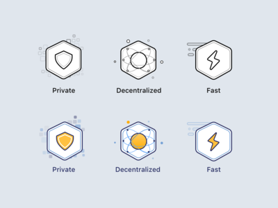 Crypto Icons cryptocurrency app simple icon fast decentralized private yellow blue landing page bitcoin crypto exchange crypto currency crypto illustration sketch