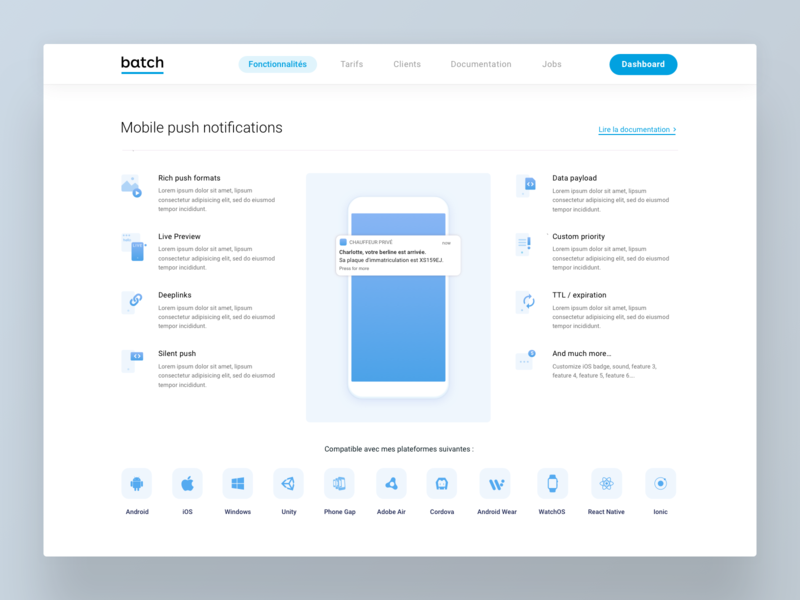 Batch Features ios android saas website os icons landing blue notification page features mobile saas
