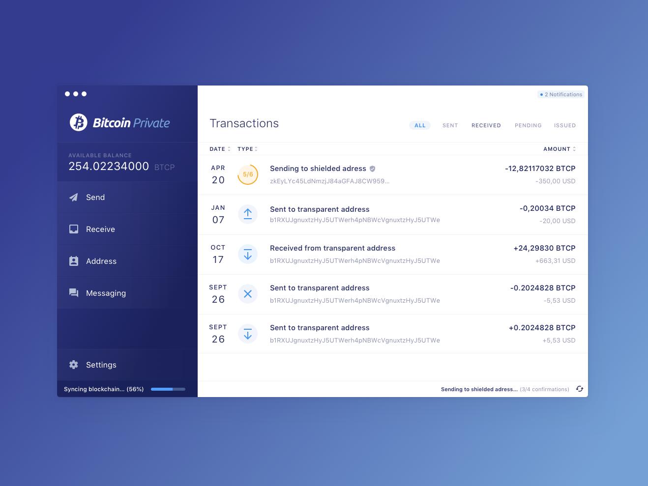 Bitcoin Private Wallet 8px grid typescale application desktop money bitcoin wallet crypto