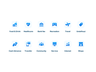 Simple Category Icons mobile app ios blue shops interest service community transfer advance cash undefined travel recreation fee bank food and drink healthcare category icons