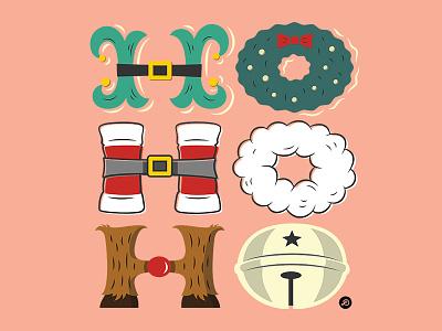 Ho Ho Ho hohoho xmas christmas illustration typography lettering hand lettering graphicdesign design