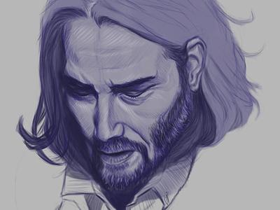 Keanu Reeves illustration face drawing digital portrait portrait blue portrait art actor john wick keanu reeves
