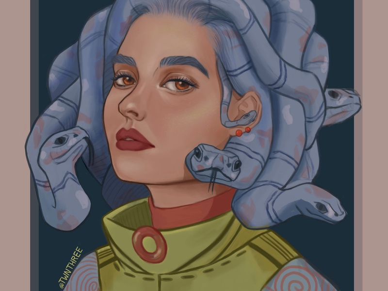 Modern medusa ( @nikalarkina OC in my style) snake logo snake snakes design digital 2d beautiful girl digital portrait face paint medusa portrait art portrait illustration