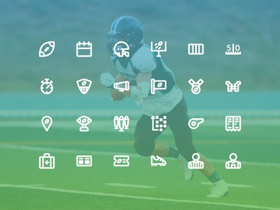 American Football Icon Set (Line Style)