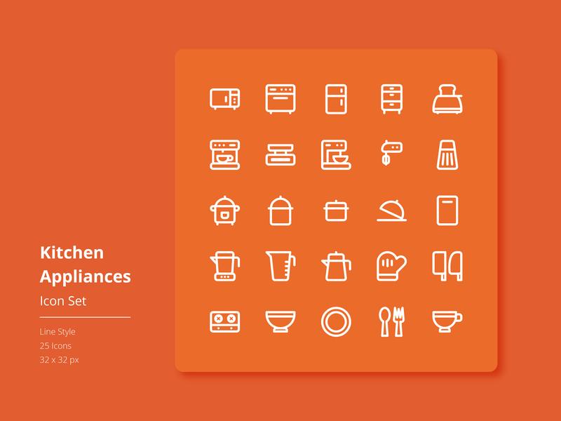 Kitchen Appliances Icon Set (Line Style) ux ui app website vector flat design icon set iconography graphic iconography icon