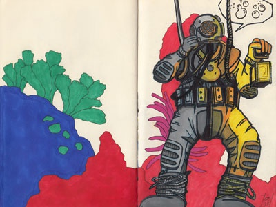 Deep Sea Diver sketchbook sketch drawing illustration inks prismacolor diver ocean color study colored pencils deep sea deep sea diver