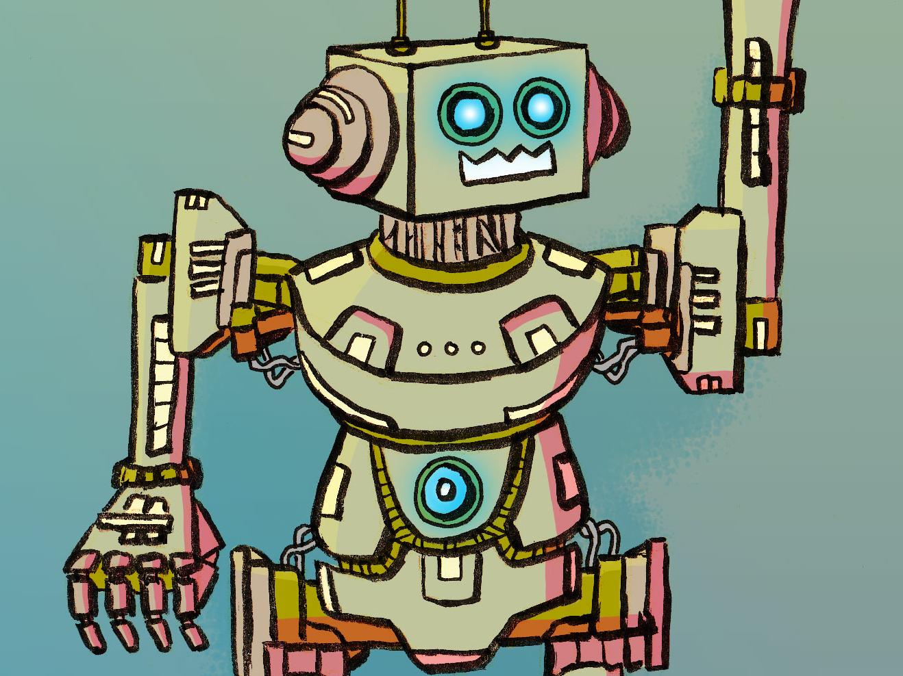 туристов роботы рисунок цветной очень