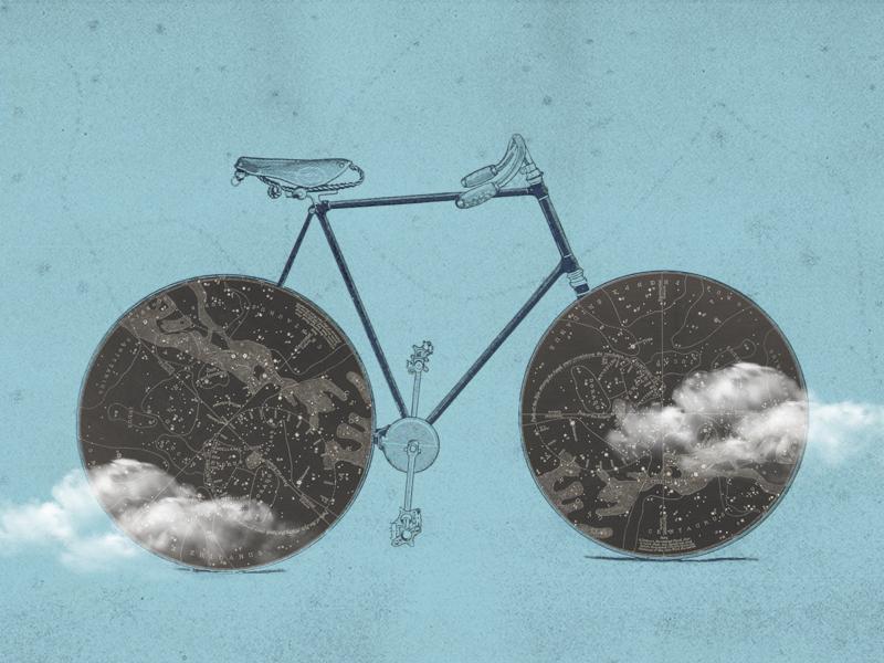 bike collage illustration