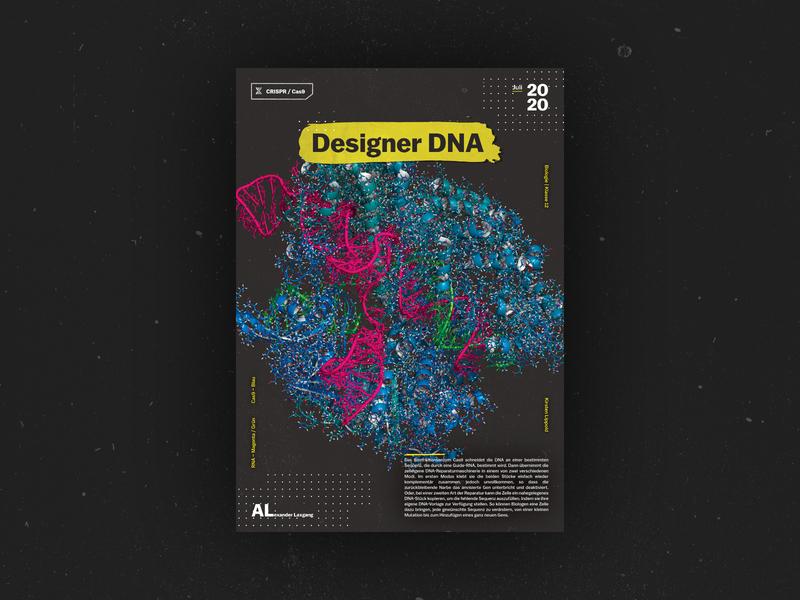 Designer DNA CRISPR / Cas9 Poster print design school concept flyer illustration biology poster