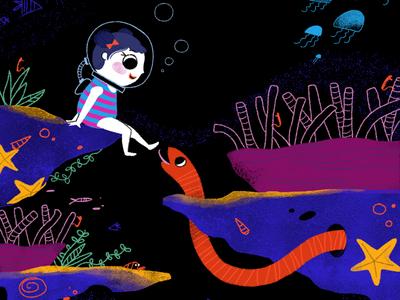 Eva plays with sea creatures