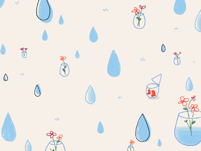 Drip drop wacom pattern picturebook photoshop weather kidlitart kid illustration flowers drawing doodle cute rain childrensillustration childrensbook children art children character raindrop cartoon
