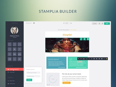 Stamplia ui user interface app inline editor wysiwyg flat app flat app menu navigation app navigation drag and drop